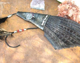 Hand Made Dyed Pheasant Wing Smudge Fan with with Custom Leather and Dragon/Goddess Medallion