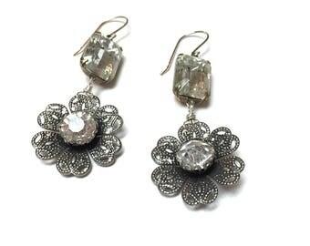 Victorian Filigree Flower Earrings. Rhinestone Earrings. Long Drop Earrings. Crystal. Garden. Romantic. Nature. Fairy. Handmade Jewelry.