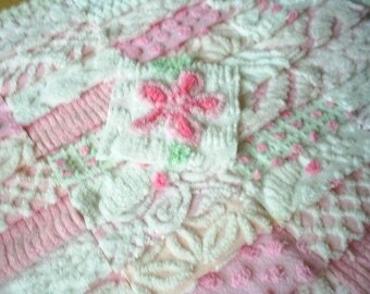 Vintage Chenille Bedspread Squares -Pretty Pinks & Whites with Rosebud-42-6""