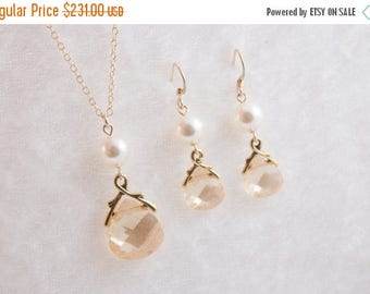 ON SALE Bridal Jewelry, Set of 7 Crystal and Pearl Bridal Necklaces and Earrings Gold or Silver