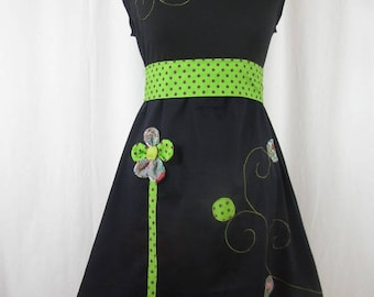Chihiro dress black and green with flowers