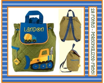 28 Fonts- Toddler CONSTRUCTION TRUCKS Small Personalized Quilted Backpack- Preschool/ Day Care/ Diaper Bag,  Blue/ Green