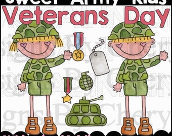 Sweet Army Kids Clipart Collection- Immediate Download