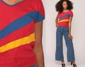 Striped T Shirt 80s TShirt V NECK Red Slouchy Ringer Tee Hipster Retro Tee Boho Cap Sleeve Vintage Blue Yellow Small Medium