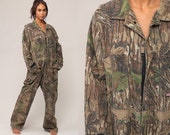 Realtree Camo Jumpsuit Hunting Outfit Army Coveralls Military Camouflage Print 80s Grunge Pantsuit Vintage Long Sleeve Green Extra Large xl