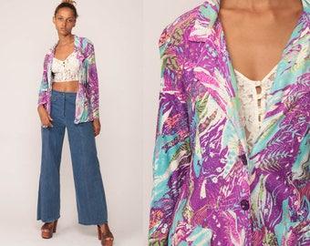 Floral Blazer Jacket Psychedelic Floral Jacket 70s Boho Hippie Jacket Purple Blue 1970s Bohemian Vintage Festival Blazer Medium