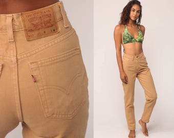 Tan Levis Jeans Denim Pants High Waist Jeans 80s Mom Jeans 512 Skinny Camel Sand Straight Leg Levi 1980s Vintage Hipster Small 26