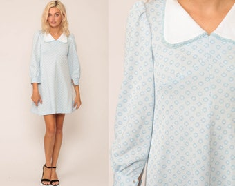 Mod Mini Dress PETER PAN Collar Babydoll 60s Baby Blue Dolly 70s Hippie Vintage Long Puff Sleeve 1960s Empire Waist PETITE Extra Small xs
