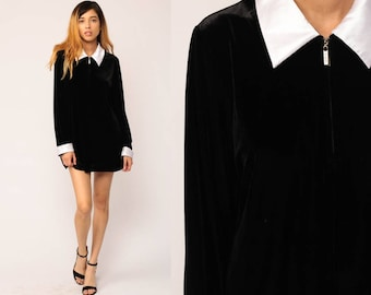Velvet Mini Dress PETER PAN Collar 90s Grunge Party Black Long Sleeve Goth Wednesday Addams Shift Cocktail Vintage Gothic Large