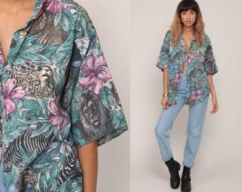 Tiger Shirt Safari Shirt 80s Jungle Animal Blouse Leopard Print Tropical Floral Button Up Zebra Vintage Party Short Sleeve Extra Large xl