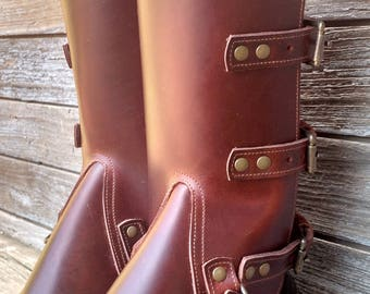Taller Swiss Military Style Gaiters or Spats in Glossy Cherry Leather w Antiqued Brass Hardware