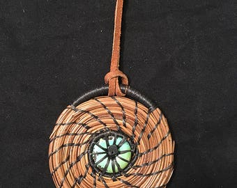"2-3/4"" Coiled Pine Needle Ornament withTurquoise Center"