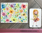 GRAB BAG Originals - Swishy Flowers + Girl with Bouquet Watercolor paintings