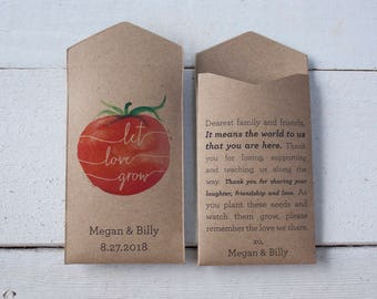 Tomato Personalized Seed Packet Wedding Favor – Let Love Grow – Custom Seed Packet – Seed Envelope Wedding Favors – Many Colors Available