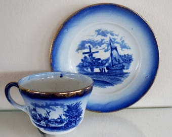 Vintage Cup and Saucer Blue and White Shuttleworth Windmill Dog Peddler Amsterdam New York Marketing Advertising 1920s