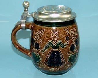 Vintage Beer Stein Licher Beer Stoneware Beer Mug Pewter Lid Germany