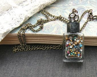 mini bottle assemblage necklace petite rhinestone tumbler cute repurposed upcycled jewelry