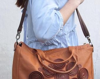 SALE Brown Leather Purse, floral leather bag, womens Laptop Bag spring Botanist Purse Spring, retro Travel bag,  floral boho bag, xl luggage