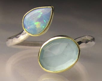Boulder Opal and Aquamarine Ring, 18k Gold and Sterling Silver, Open Face Bypass Ring, size 6.75-7