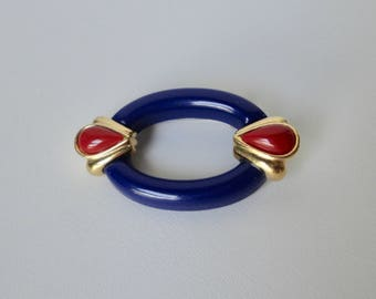 Vinage  Blue, Red and Gold LUCITE Brooch