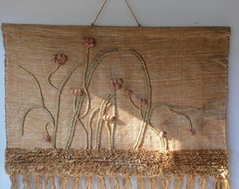 Vintage modern jute fiber art textile weaving wall hanging