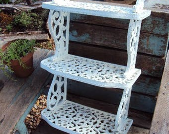 Vintage Shabby Chic Shelf Three Tier Tiered Wall Shelf Large French Country Distressed Chippy Ornate Baroque Faux Wrought Iron Antique White
