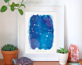 Gemini Star Sign, Gemini Zodiac Art Print, Astrology Gift, Gemini Gifts, Horoscope Art, Constellation Poster, Horoscope Decor, A4, A3