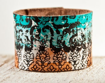 Turquoise & Orange Bracelets, Turquoise Cuffs, Turquoise Wristbands, Turquoise Accessories, Leather Jewelry