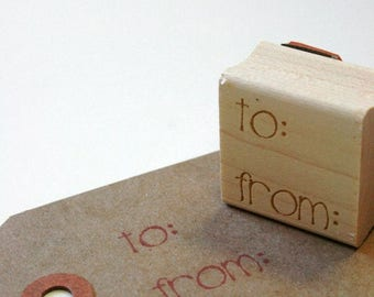 25% Off Summer Sale Larger To From Wood Mounted Red Rubber Stamp with Engraved Top - Gift Tag Size