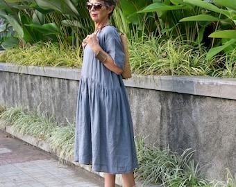 LINEN, Midi, Loose, Kimono Sleeves, Resort Wear, Bohemian, Plus Size, Bali, Black, White, Gray, Natural, Made Smock Dress, 10-26