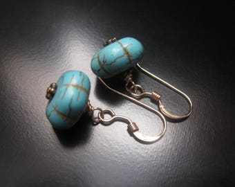 Turquoise Pumpkin Earrings, Turquoise Magnesite Pumpkin Beads, Antique Brass Heishi, 14K Gold Fill Earrings, Turquoise Gold Earrings Jewelry