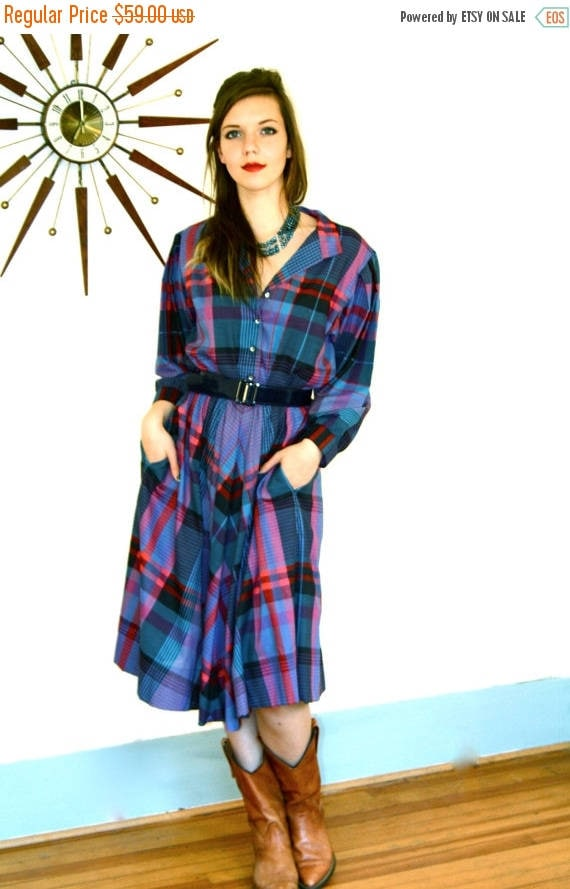 SALE 50% OFF Vintage Plaid Western Dress 80s Blue Red Black Checkered Cotton Button Down Long Sleeve Full Sweep Skirt 1980s Southwest Cowgir