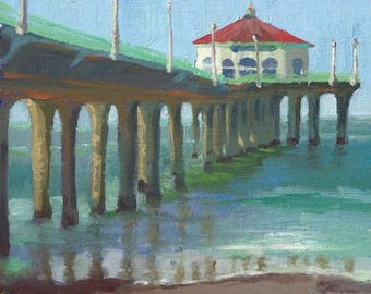 "Morning At The Pier - 8x10"" Fine Art Print from Original Oil Painting, Surf Art, Beach Painting, Plein Air Seascape"