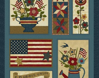 """NEW Liberty Hill Quilt Fabric 100% Cotton Americana Patriotic 24"""" X 44"""" Fabric Panel Flags"""