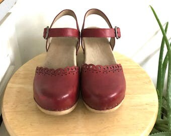 Dansko Clogs // Red Leather Mary Jane //Euro 38 US 7/8