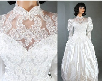 ON SALE Vintage Wedding Gown XS Victorian Style White Satin Pearl Beads Lace Trim Train Free Us Shipping