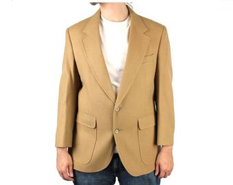 ON SALE Vintage 80s Blazer 40S 100% Wool Tan Light Brown Sports Coat Professor Jacket Free Us Shipping