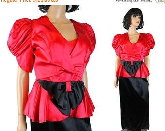 ON SALE 80s Prom Dress Sz S Vintage Black Red Satin Sleeveless Gown & Bolero Jacket Set Free Us Shipping