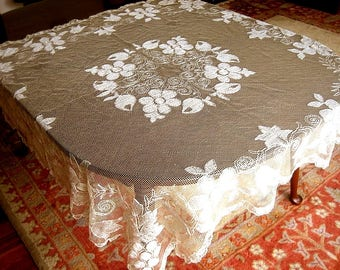Tablecloth Vintage Crochet White Crocheted Net Needle Lace Ivory Cream Silky GORGEOUS