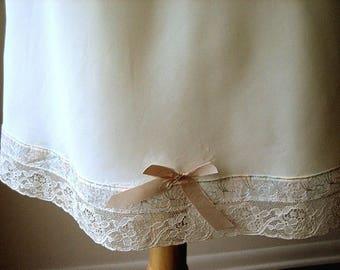 Negligee Vintage Antique Smooth HALF SLIP Wide Lace Hem Big Bow