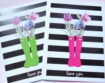 Thank You Cards - Bridal Shower Thank You Cards - Baby Shower Thank You Cards - Floral Thank You Cards -  Striped Cards - SBC