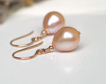 Teardrop Pearl Earrings | Rose Champagne Freshwater Pearls | 14k Rose Gold Filled Dangles | Vintage Style | Everyday Pearl | Ready to Ship