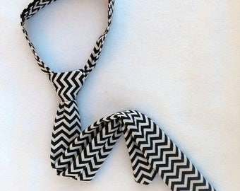 Black and White Chevron Necktie - Skinny or Standard Width - Infant, Toddler, Boy         2 weeks before shipping