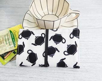Tea wallet with teapots - tea caddie - wallet for teabags - 4 pockets