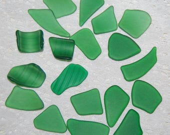 Green Faux Sea Glass undrilled lot - 19 pieces