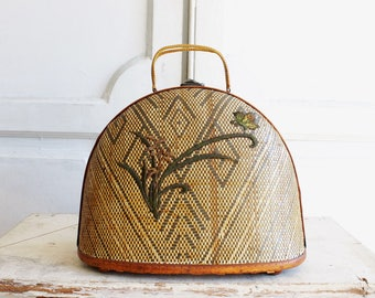 vintage woven rattan basket bag top handle