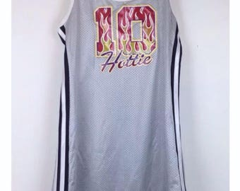 Vintage 90s basketball jersey dress side stripes grunge clubkid raver y2k hottie