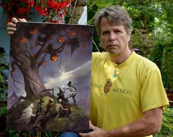 Mike Hoffman Spooky Trick or Treat Print THE HALLOWEEN TREE Giclee Print