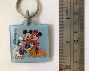 Collectible Original Disneyland Paris Keychain - Vintage 1990s - Square Blue Mickey Mouse, Minnie, Donald, Goofy