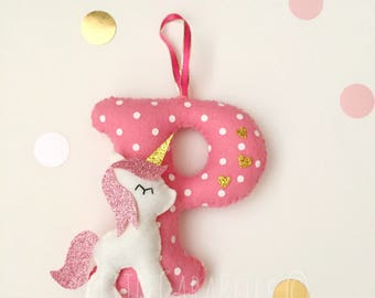 Handmade Personalised Felt Unicorn Hanging Initial. Polka dot, pink.  Perfect for a Nursery, New Baby, Christening, Bedroom, childrens room